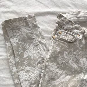 7 for all mankind White jeans with floral design